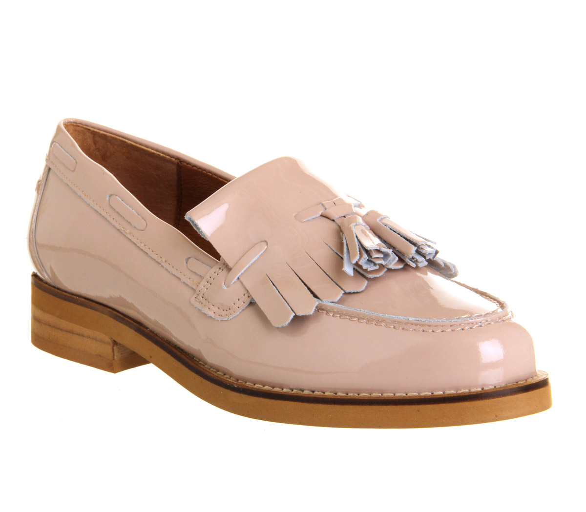 Nude Leather Flat Shoes Womens