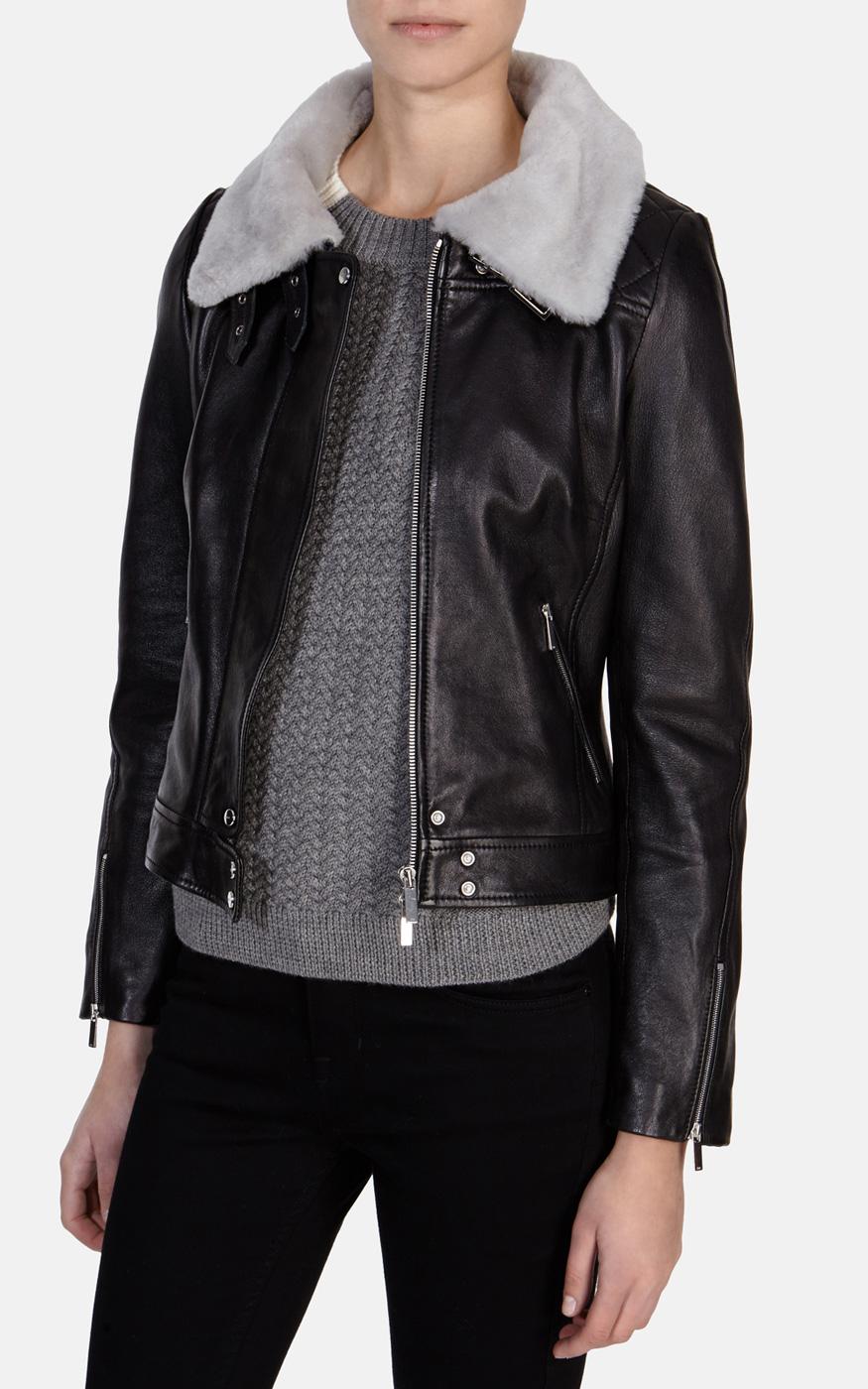 8b67ae482ab Karen Millen Leather Jacket with Fur Collar in Brown - Lyst