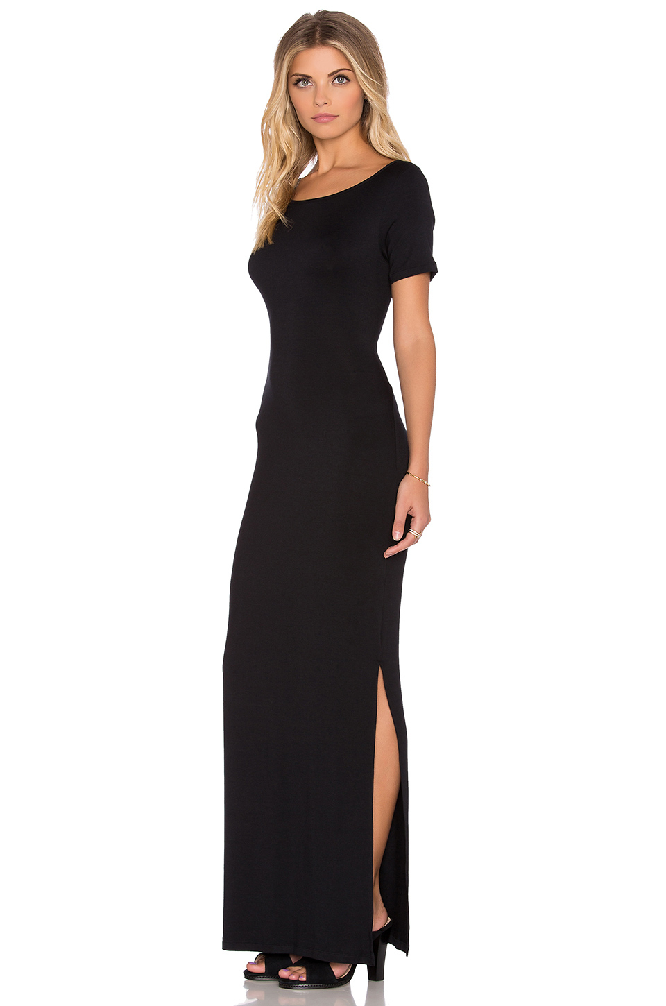 Amour Vert Synthetic Theadora Maxi Dress In Black Lyst