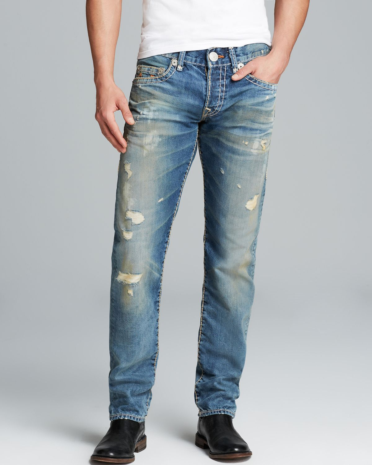 lyst true religion jeans geno super t distressed straight fit in greatest hits in blue for men. Black Bedroom Furniture Sets. Home Design Ideas