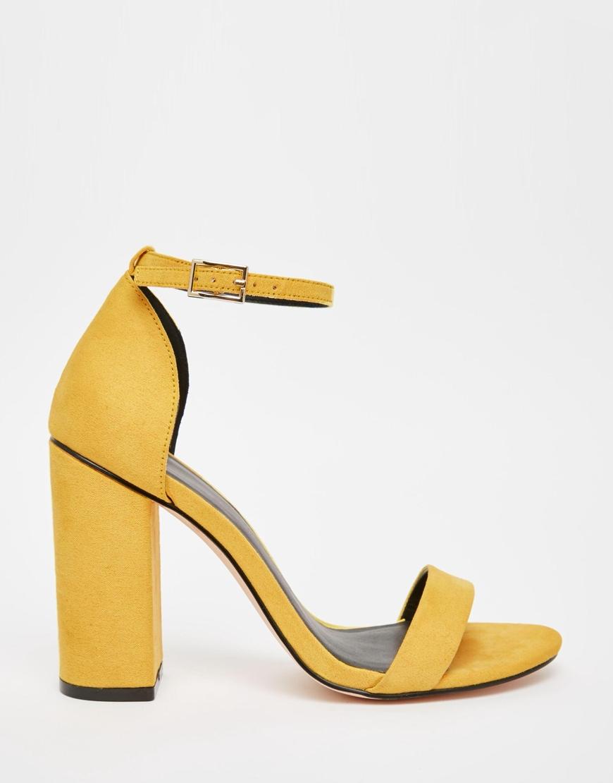 Yellow Mid Heel Sandals