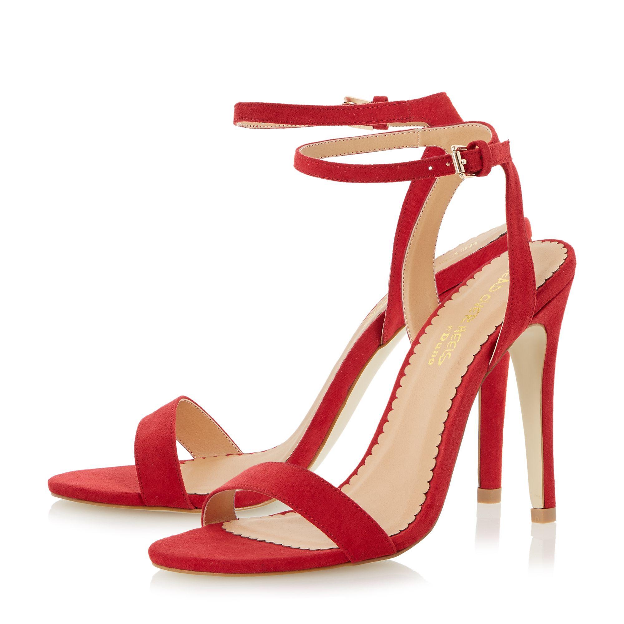 Red Strappy Sandals Heels - Is Heel
