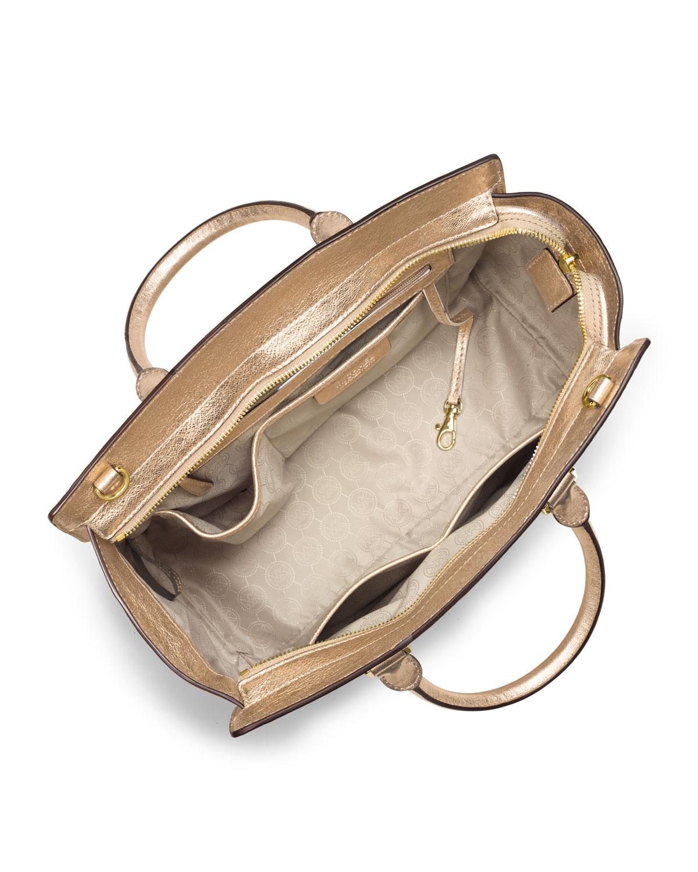 michael kors michael large selma topzip satchel in metallic lyst. Black Bedroom Furniture Sets. Home Design Ideas