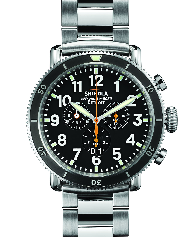 Shinola 48mm runwell sport chrono watch in metallic lyst for Shinola watches
