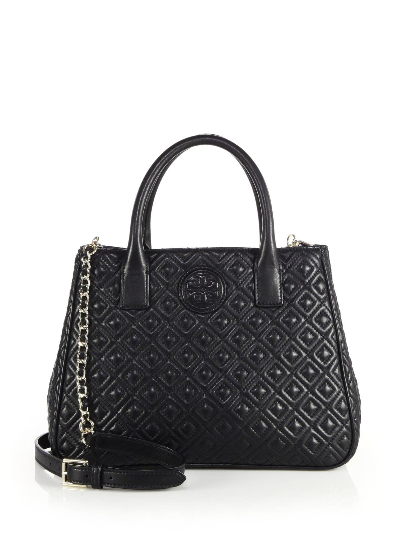 Lyst Tory Burch Marion Quilted Leather Tote In Black