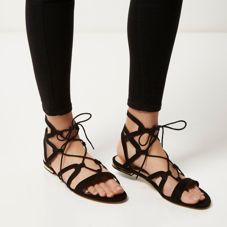 f2315ff53 Lyst - River Island Black Strappy Gladiator Sandals in Black