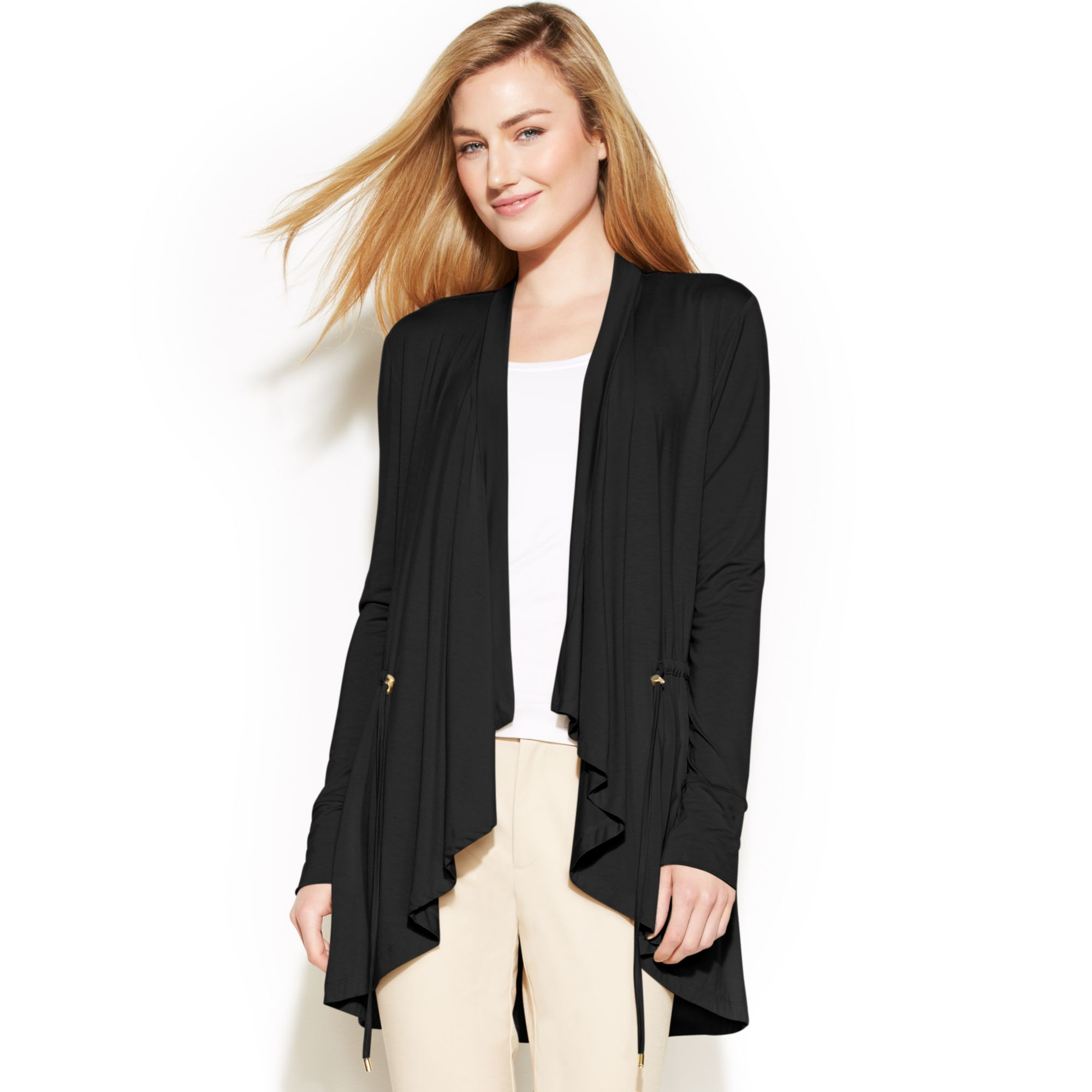 womens open linen draped products side front drapes spdye chaserbrand cardigan com sweater
