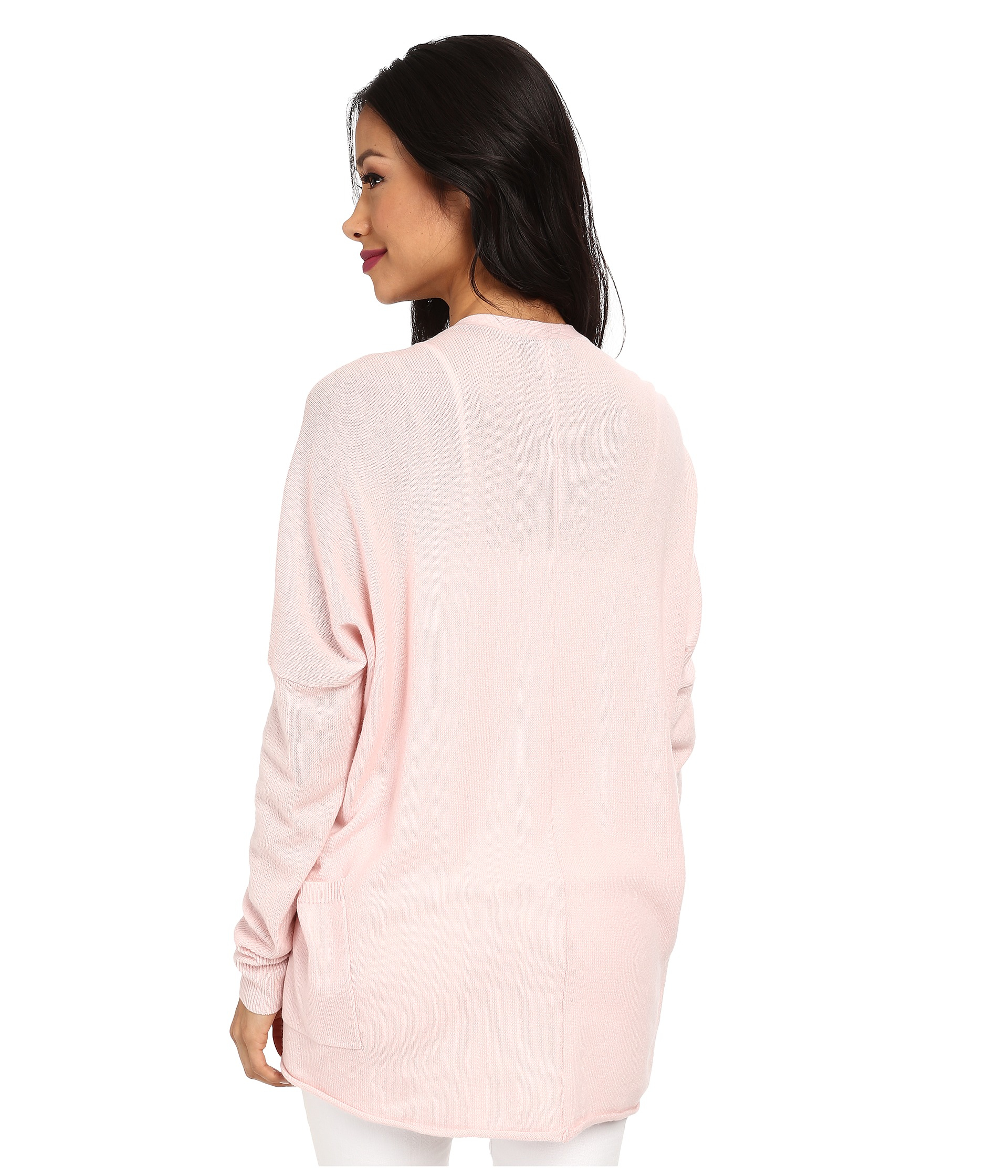 Autumn Cashmere Drape With Pockets Cardigan In Pink
