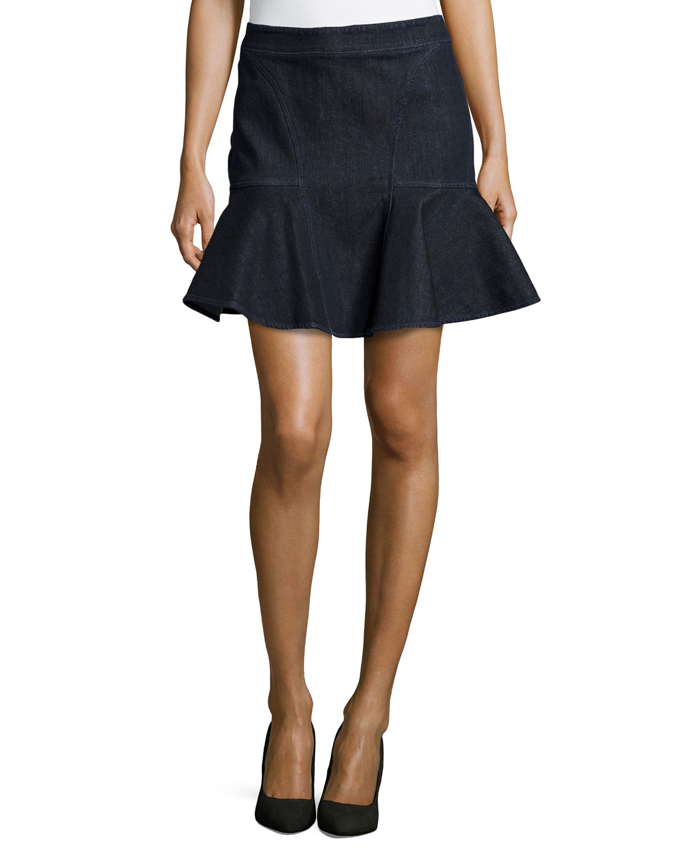 stella mccartney stretch denim a line skirt in blue denim