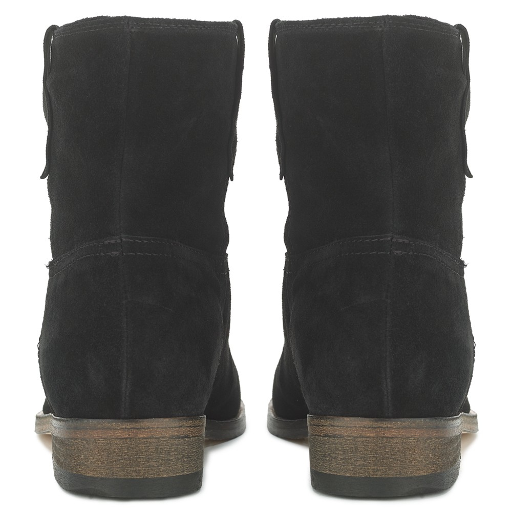 Jigsaw Suede Eve Low Block Heeled Ankle Boots in Black Suede (Black)