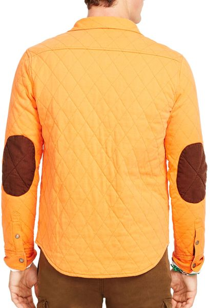 Ralph lauren polo quilted jersey shirt jacket in orange for Polo shirt with jacket