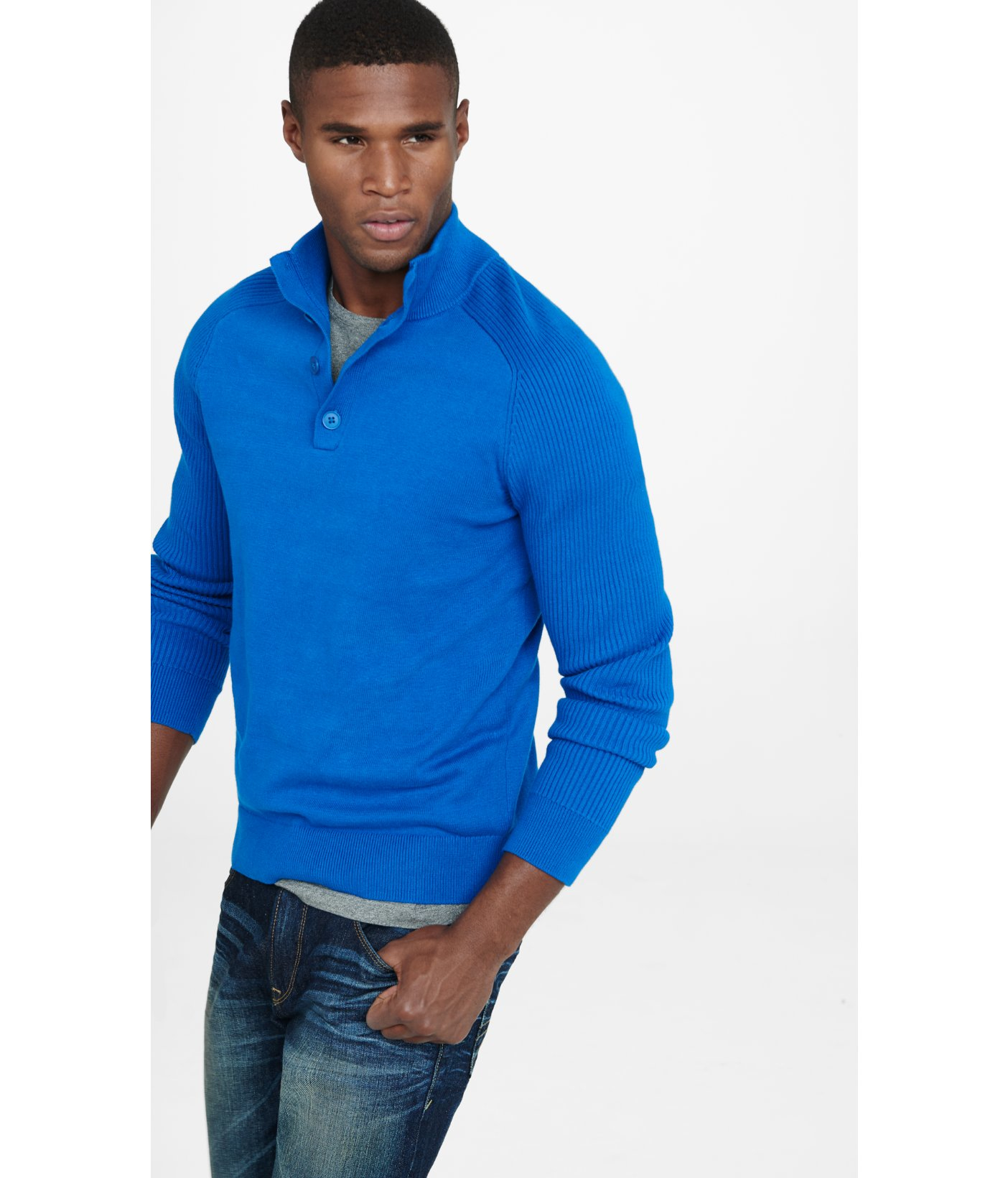 Express Button Mock Neck Rib Sleeve Sweater in Blue for Men | Lyst