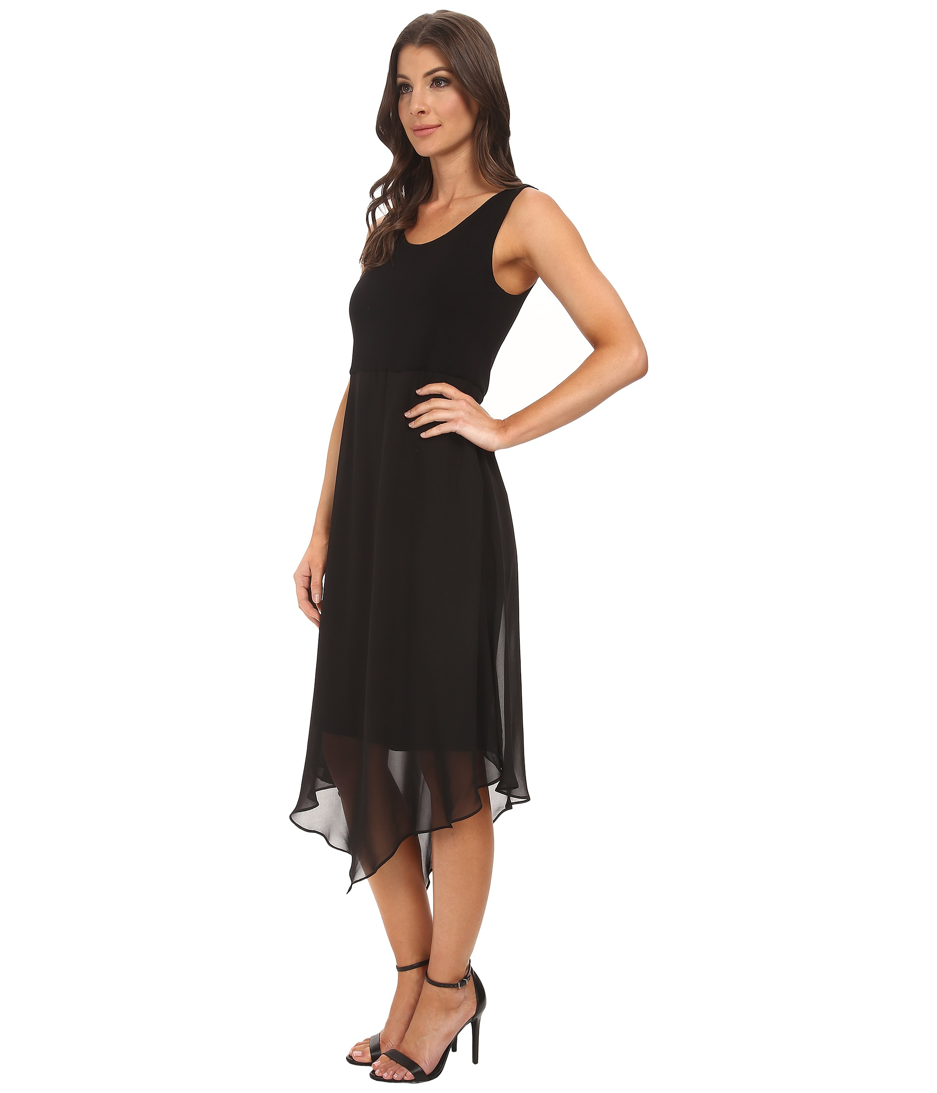 Vince Camuto Sleeveless Dress W Asymmetrical Chiffon