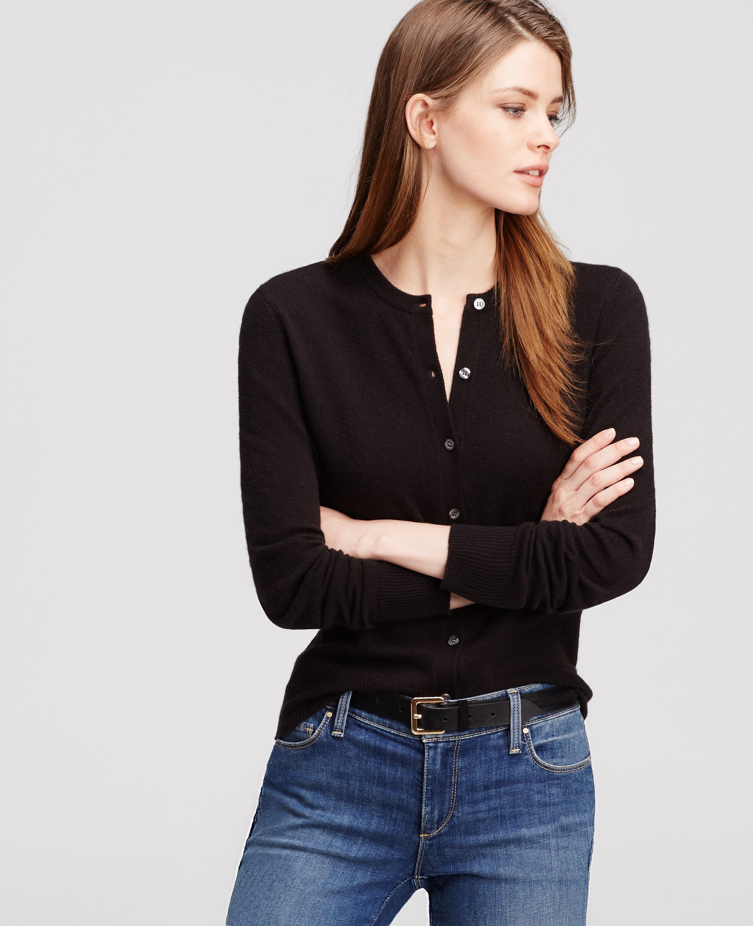 Ann taylor Petite Cashmere Crew Neck Cardigan in Black | Lyst