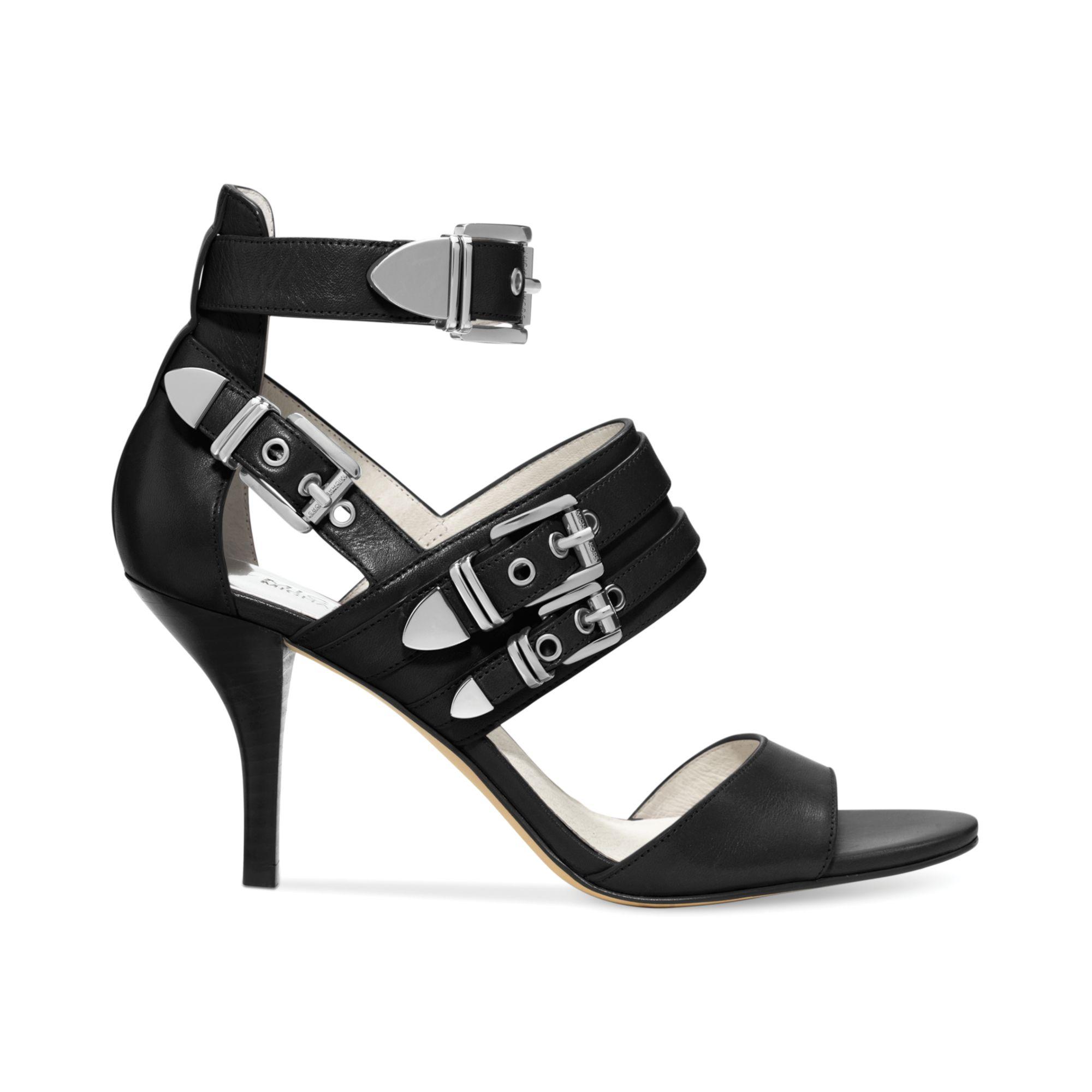 48bf07e3850d Lyst - Michael Kors Michael Cassie Mid Heel Sandals in Black