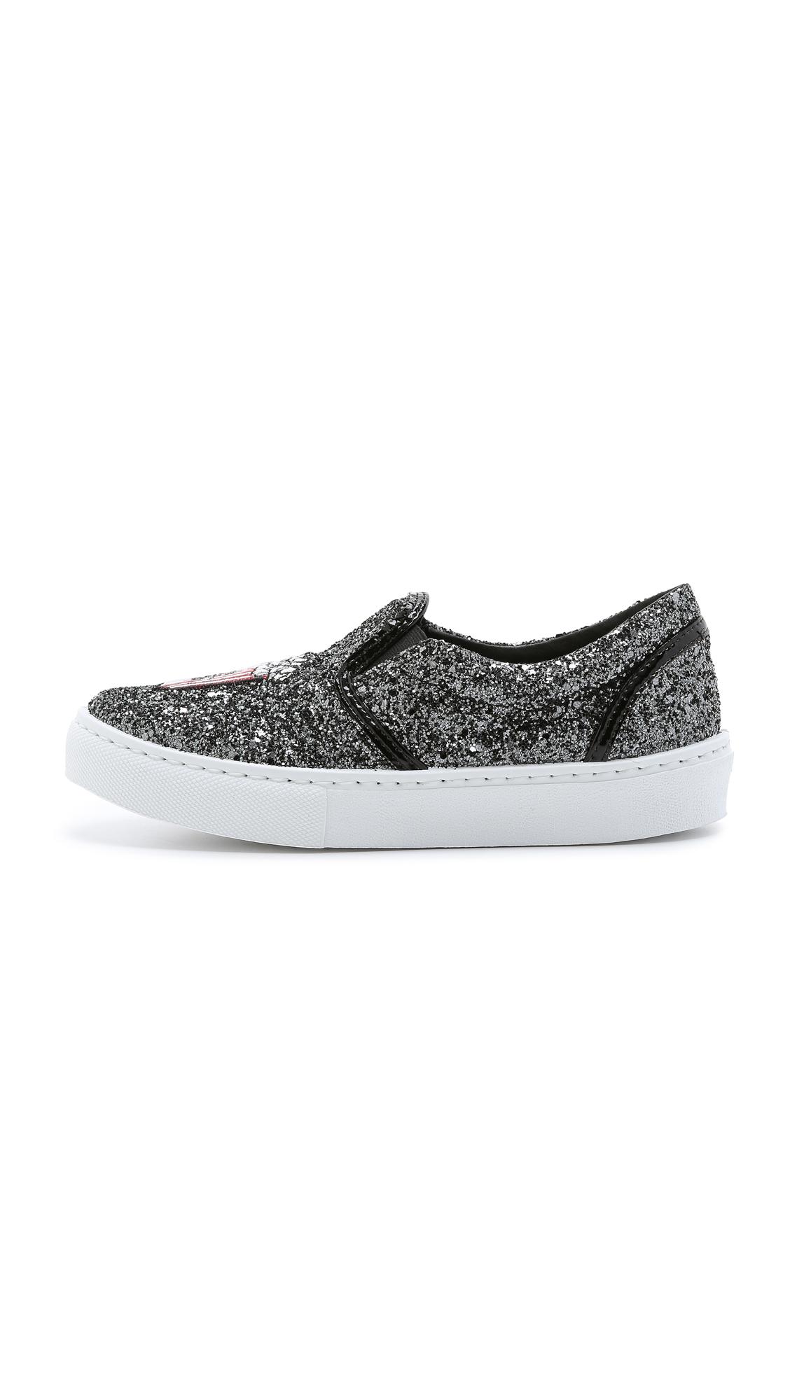 Chiara Ferragni Popcorn & Soda Slip On Sneakers - Charcoal in Black