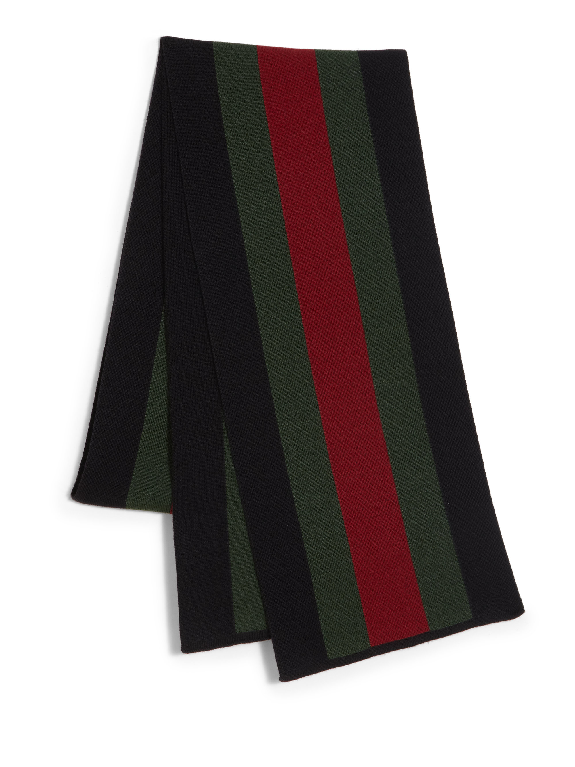 gucci signature web knit scarf in black for lyst