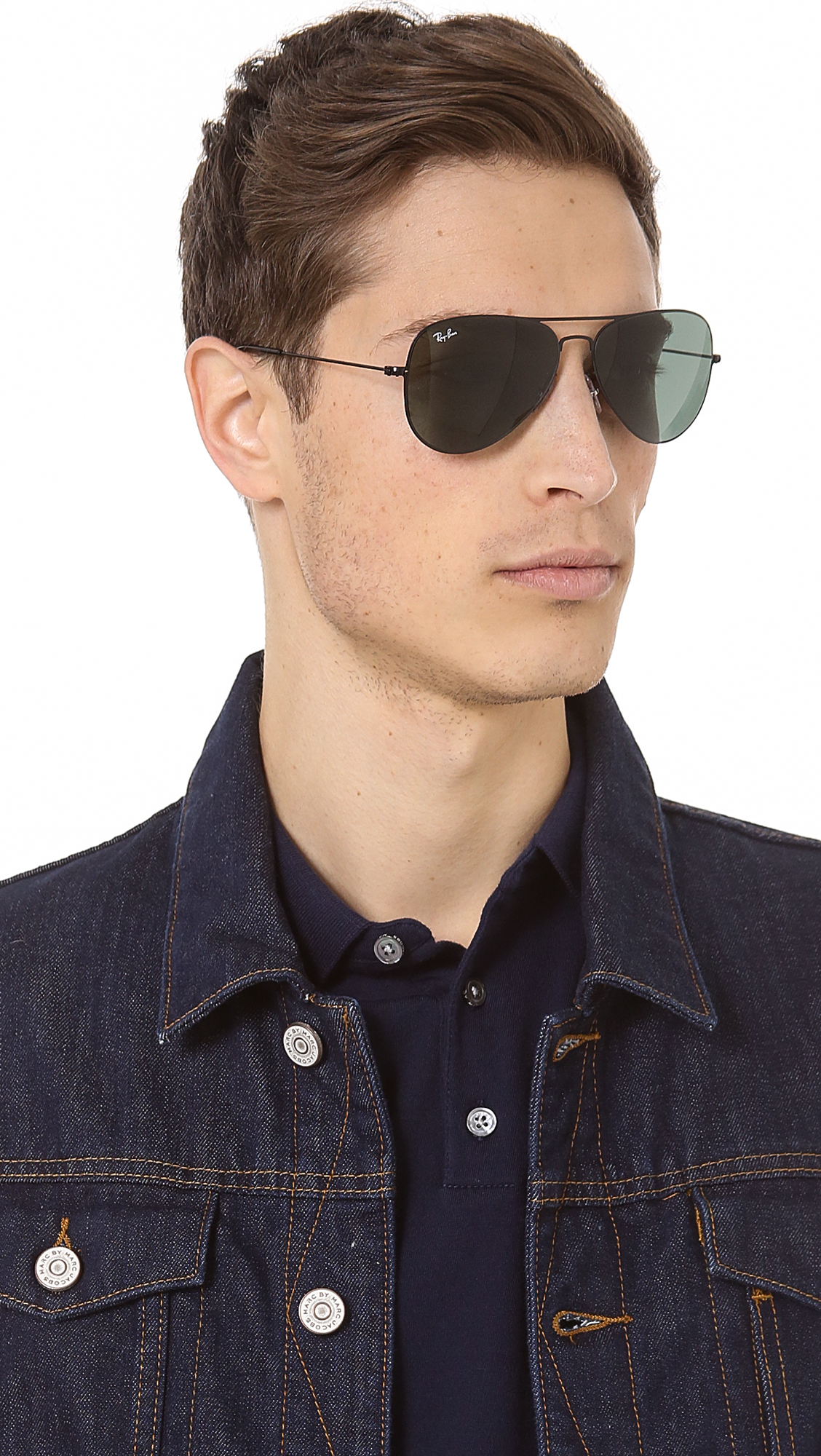 Lyst Ray Ban Thin Aviator Sunglasses In Black For Men