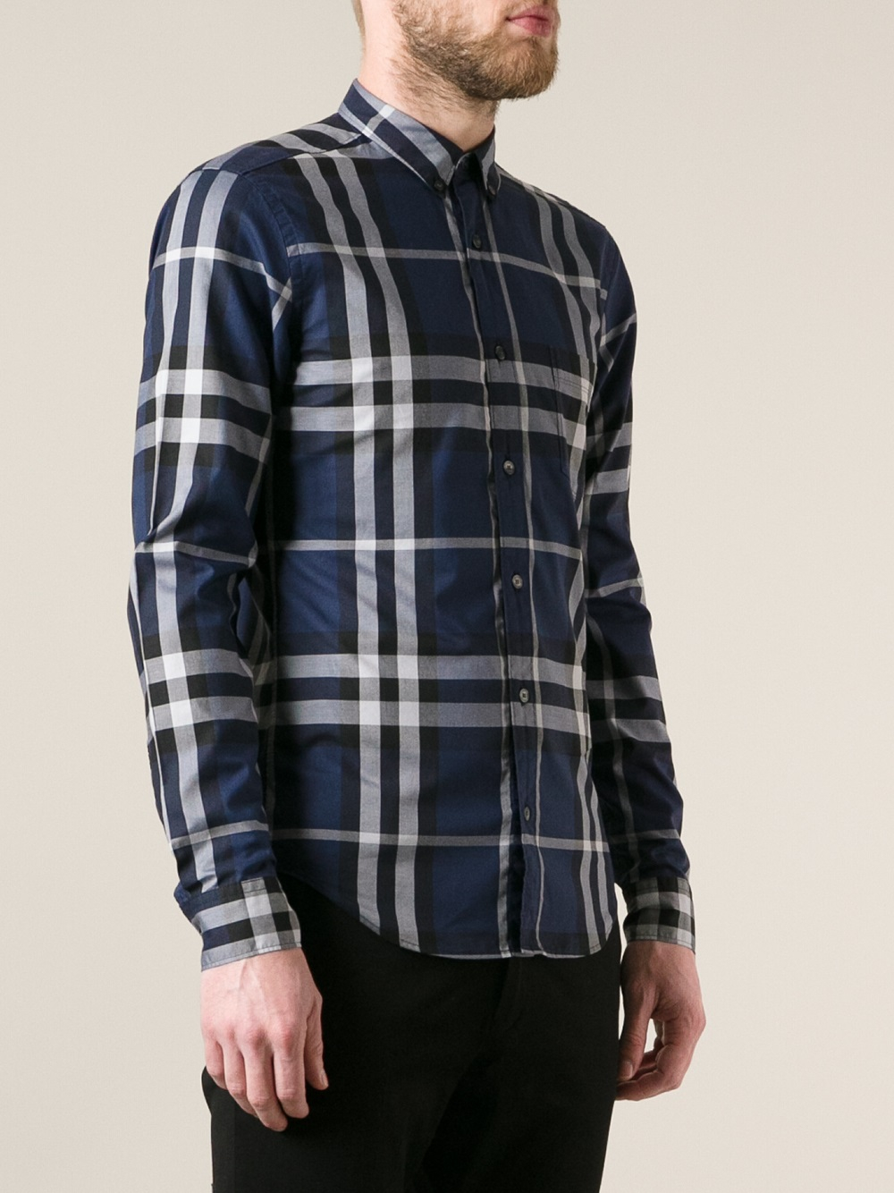 Lyst burberry brit long sleeve woven check shirt in blue for Burberry brit checked shirt