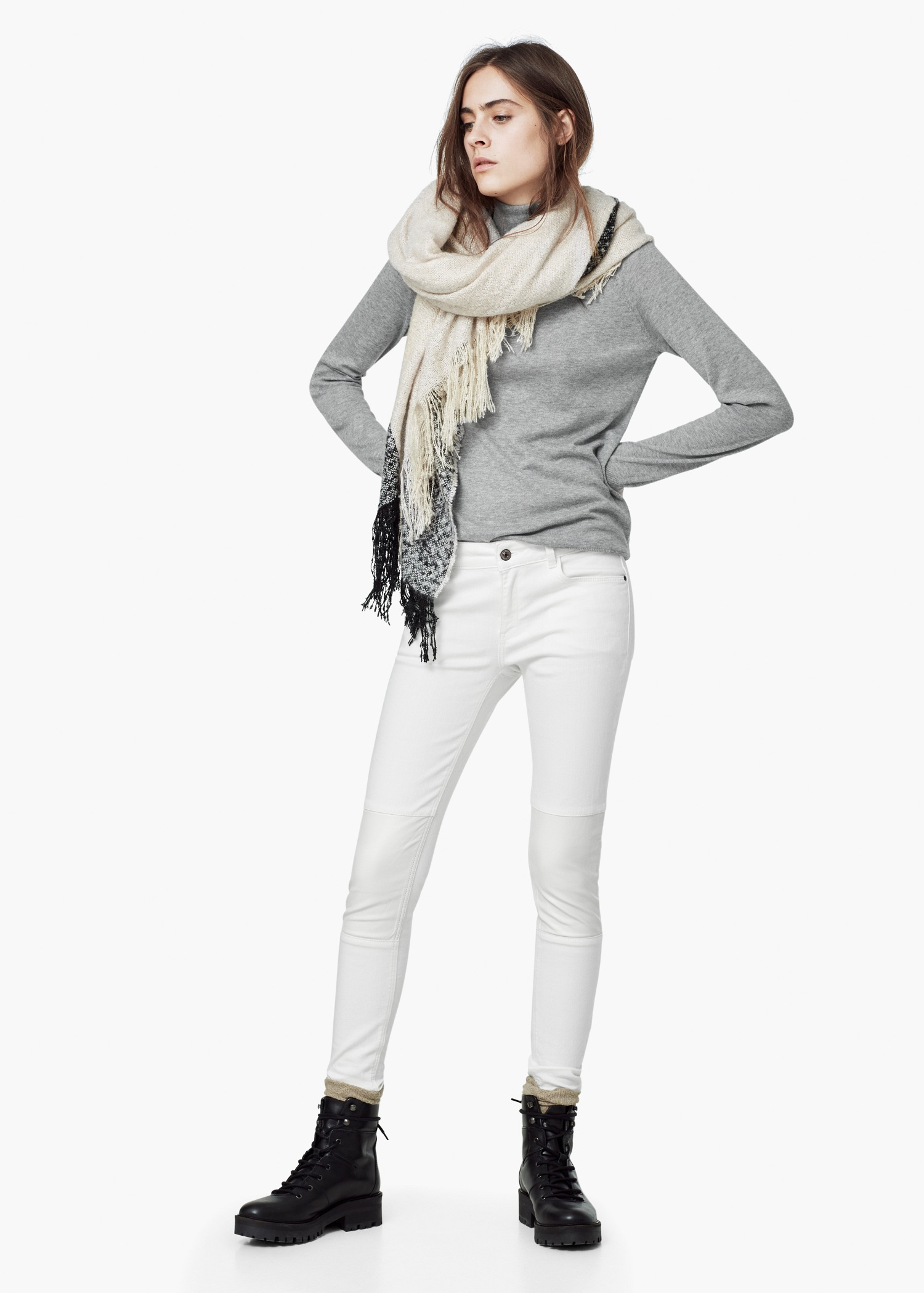 Lyst mango super slim fit roma jeans in white for Super slim dress shirts