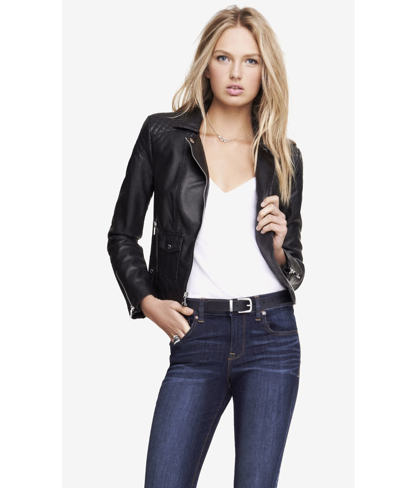 Lyst - Express (Minus The) Leather Quilted Shoulder Moto Jacket in ... : express quilted leather jacket - Adamdwight.com