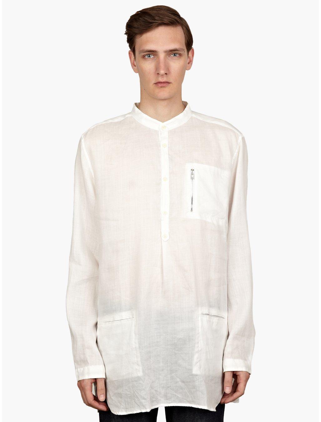nonnative mens postman linen gauze shirt in white for men