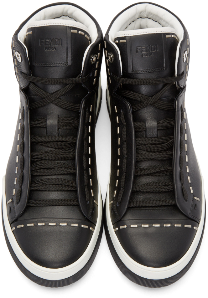 1b4349a0 Fendi Black Leather Studded High-top Sneakers for men
