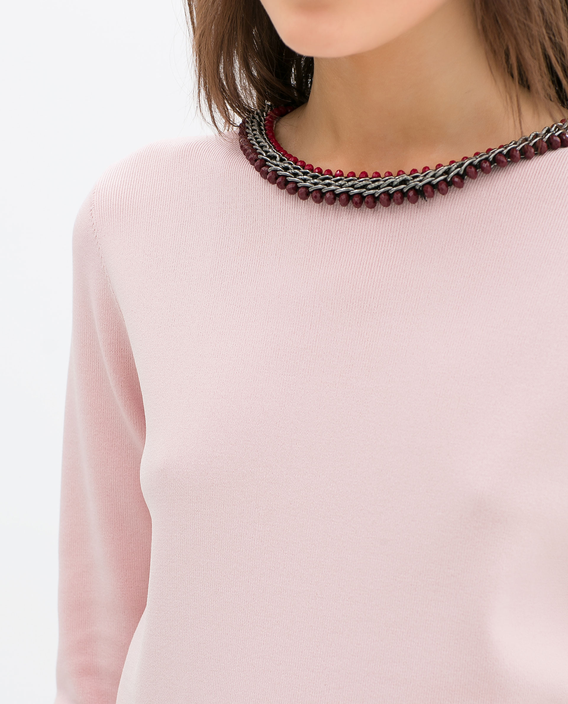Zara Sweater With Diamante Collar in Pink | Lyst