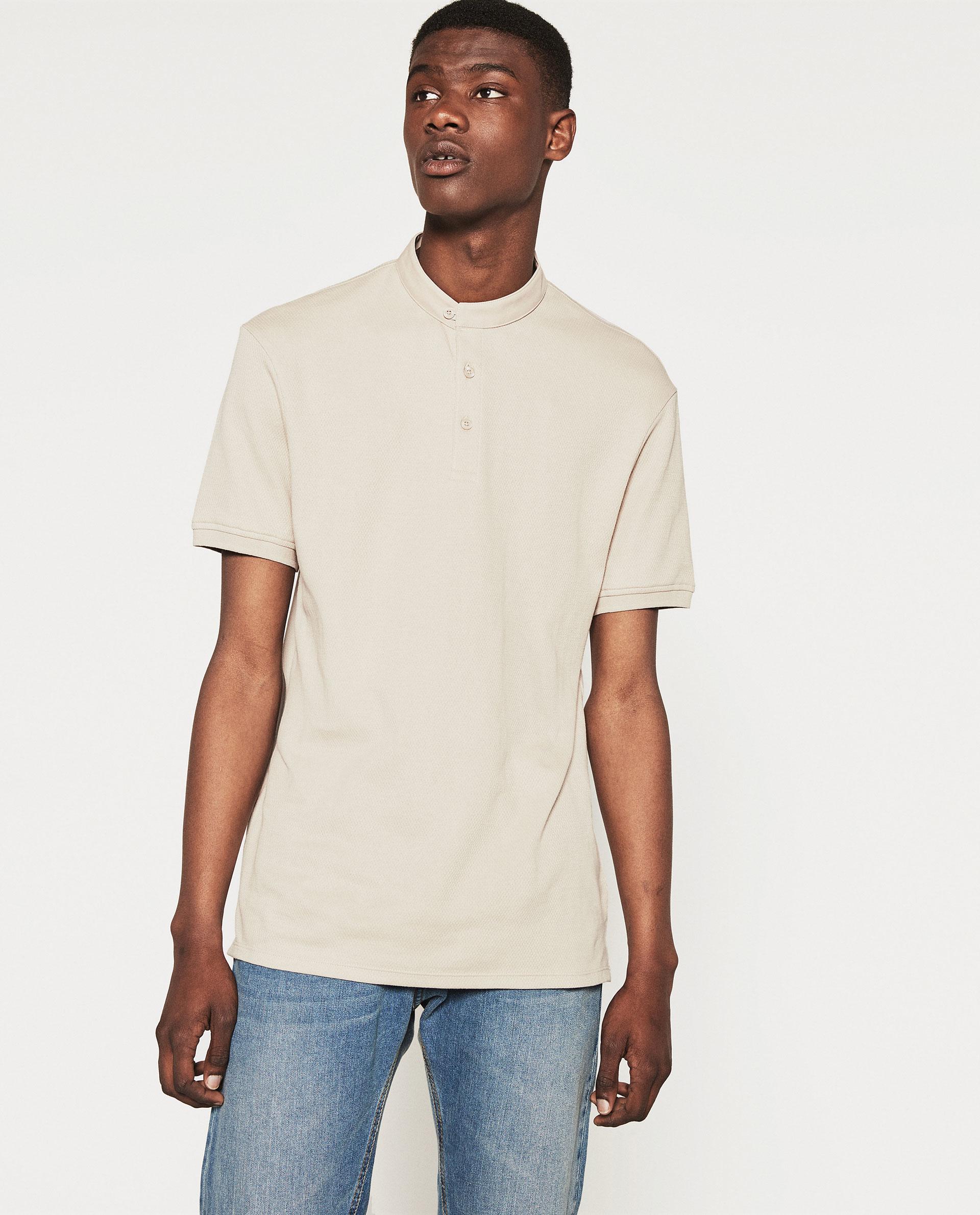 Zara mandarin collar polo shirt in natural for men lyst for Chinese collar shirts for men