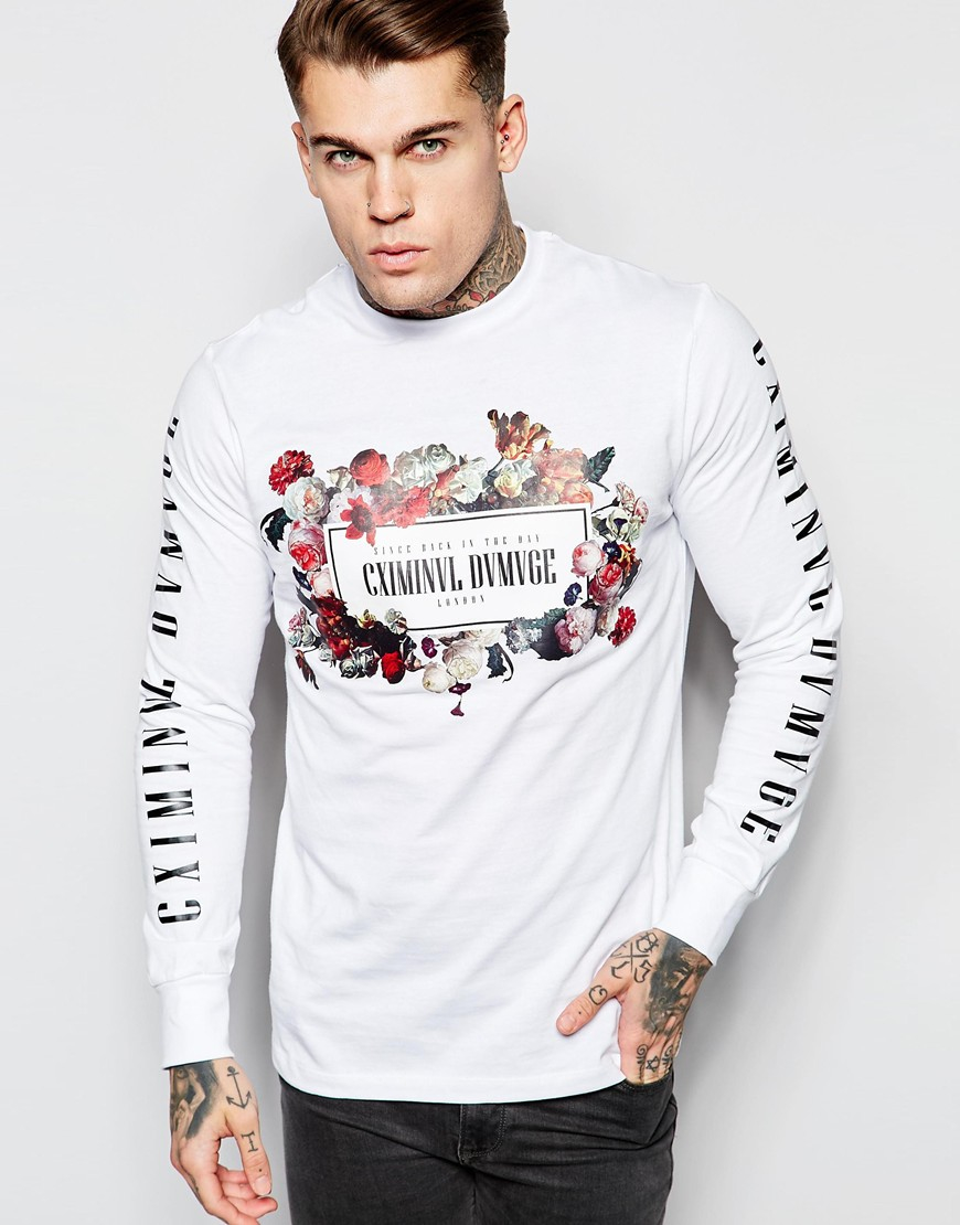 Criminal damage long sleeve t shirt with floral logo and for Mens printed long sleeve shirts