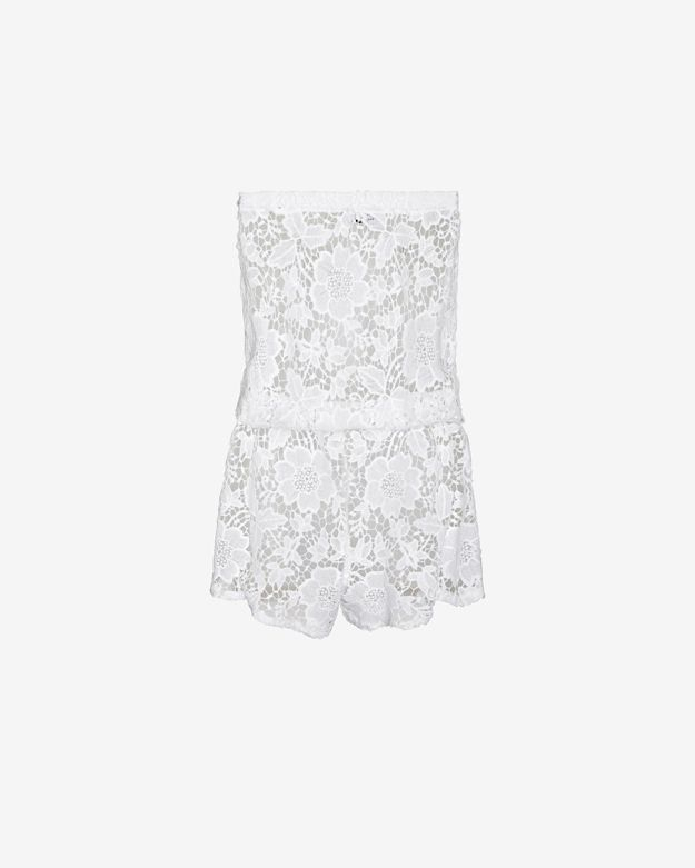 559d48d11350 Lyst - Alexis Strapless Lace Romper in White