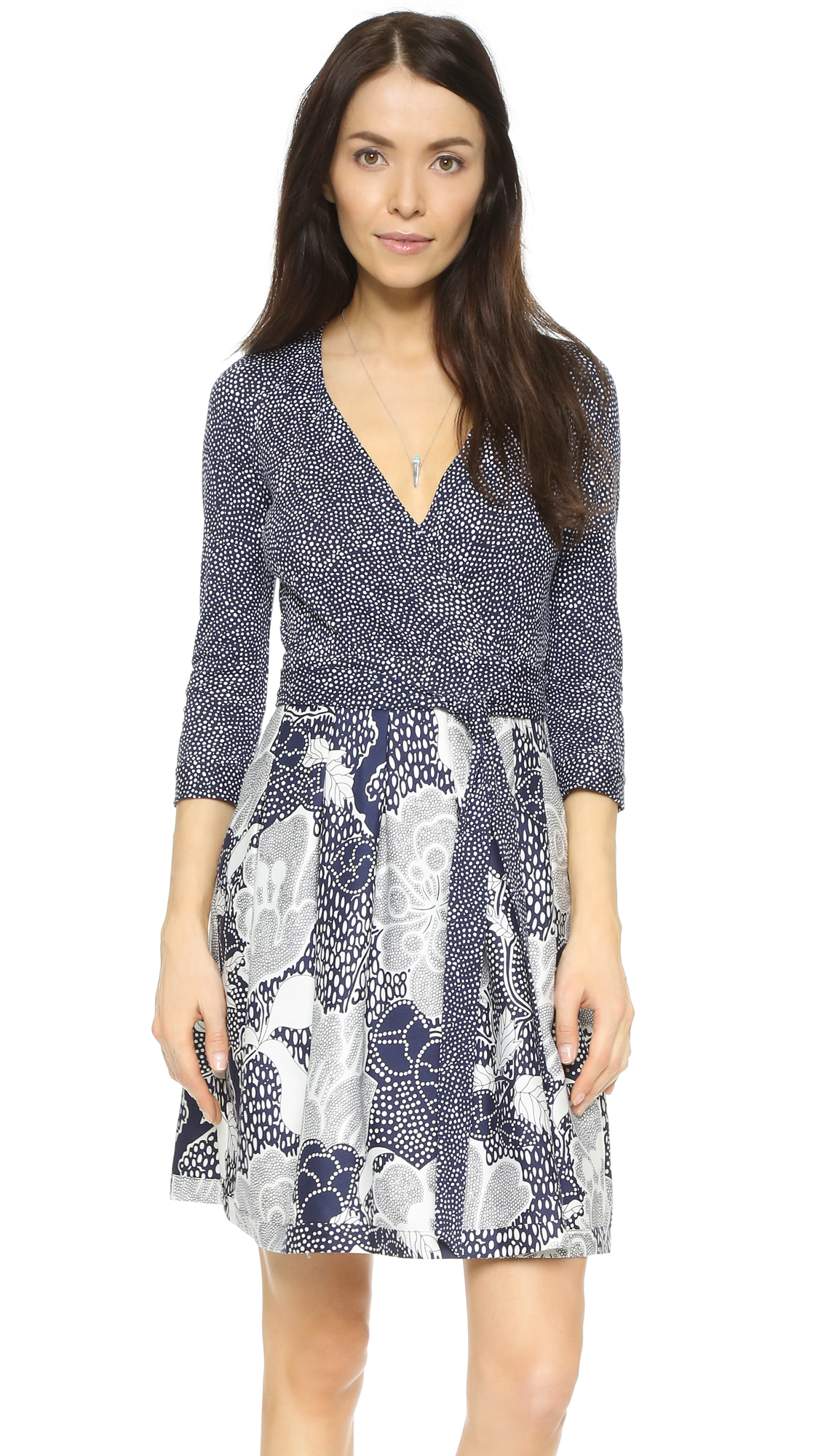 Diane von Furstenberg Wool Jewel Dress in Blue - Lyst
