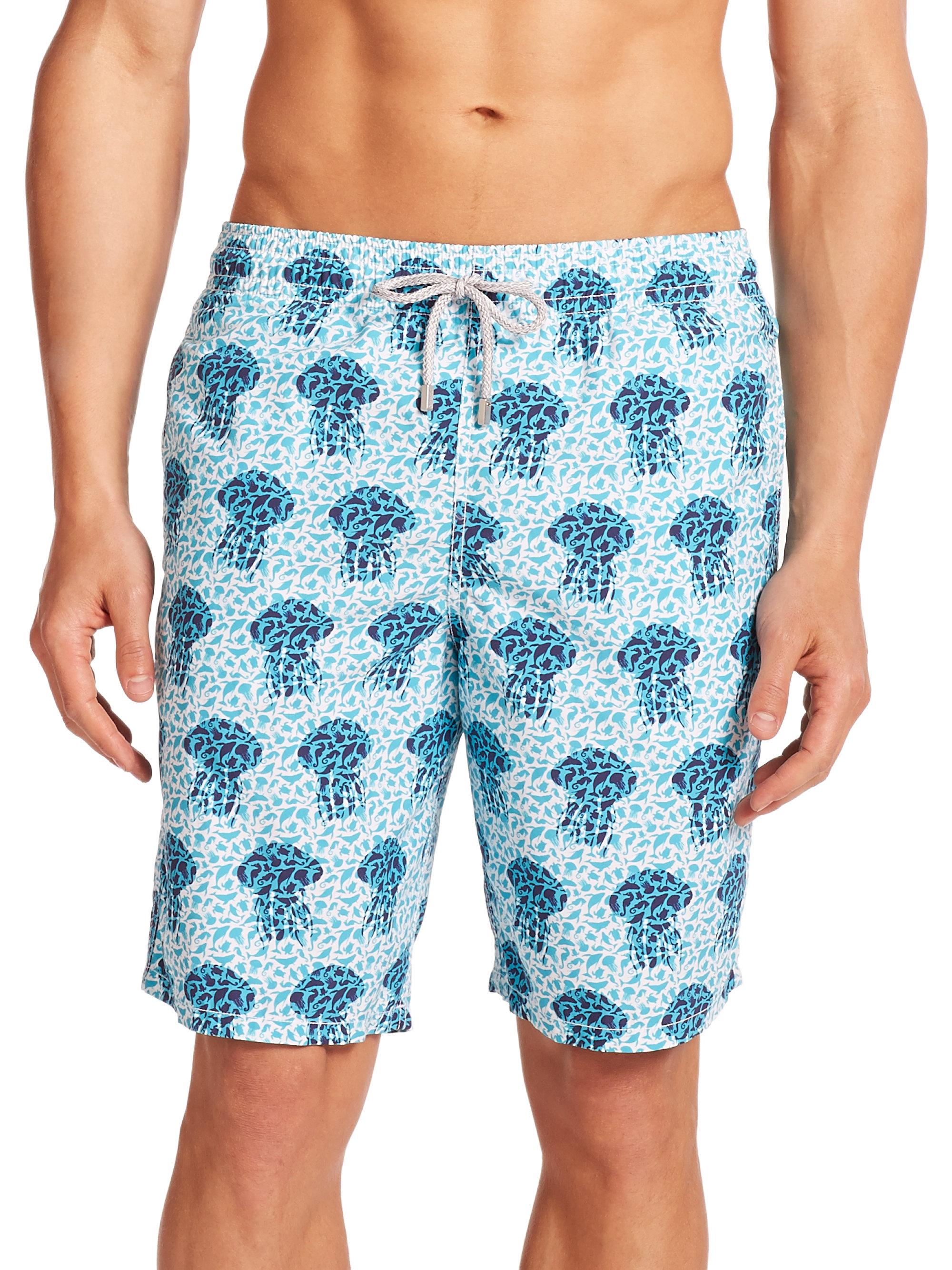 Vilebrequin moorea jelly fish swim trunks in blue for men for Fishing swim trunks
