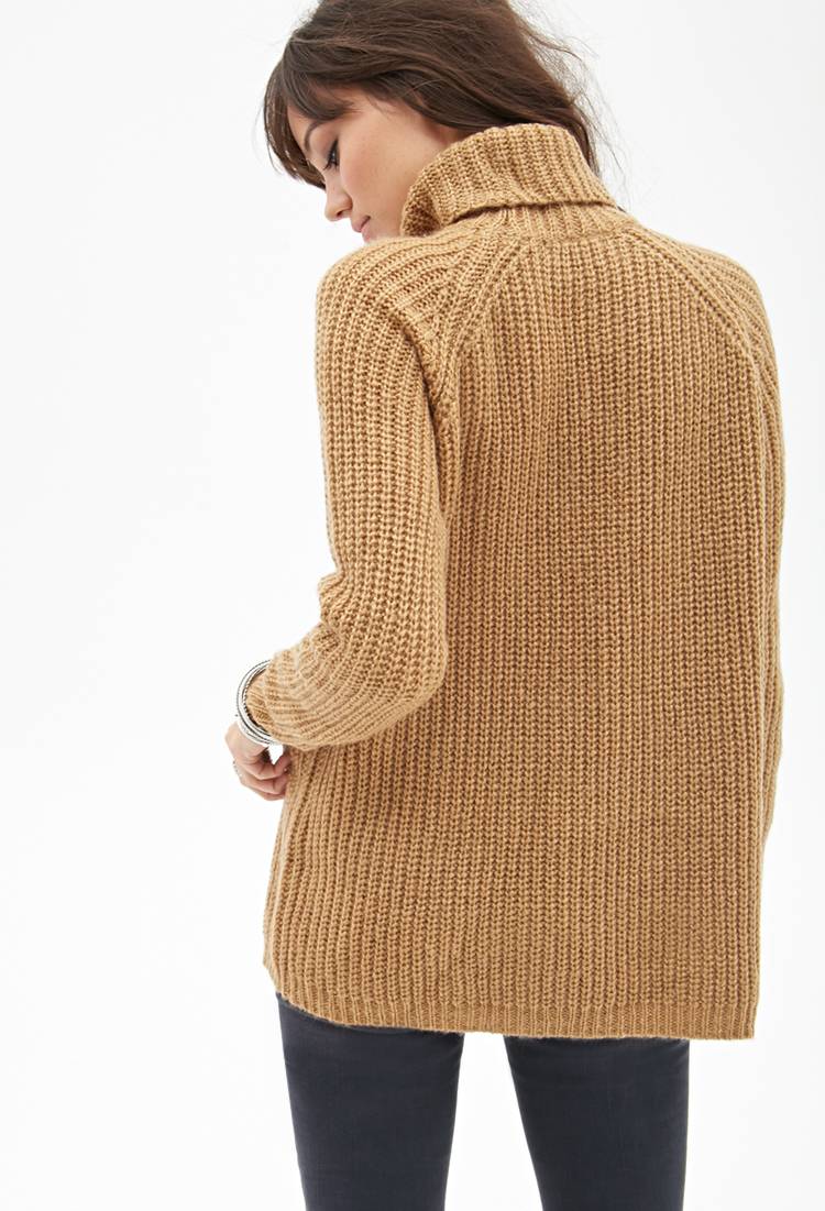 Forever 21 Ribbed Turtleneck Sweater in Brown | Lyst