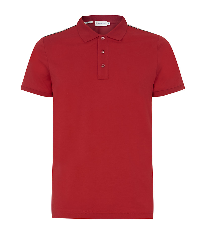 Moncler Stripe Trim Polo Shirt In Red For Men Lyst