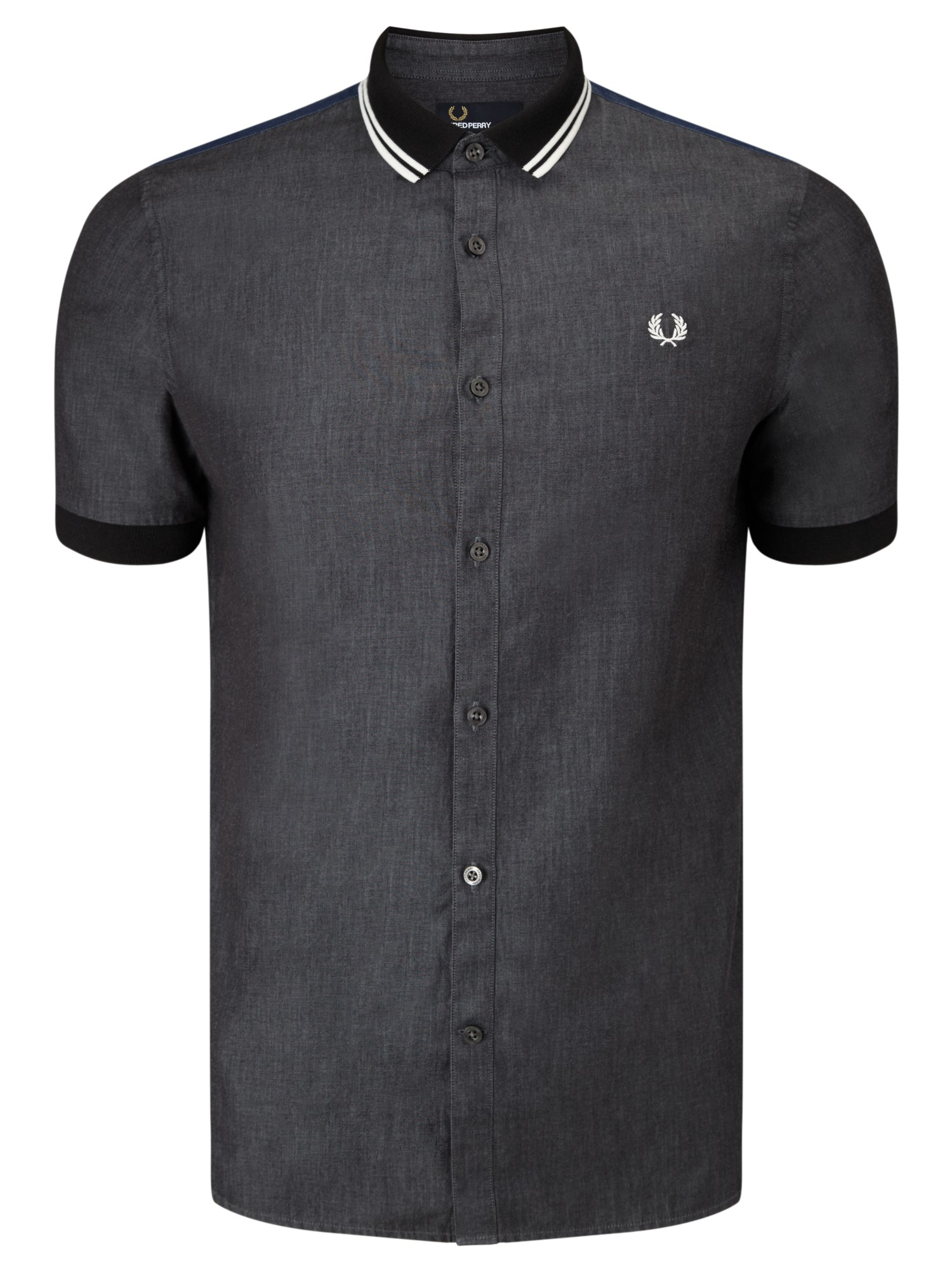 Fred Perry Chambray Mixed Shirt in Black for Men