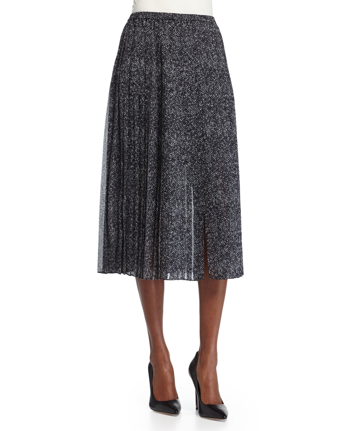 michael kors pleated midi skirt with slit in gray lyst