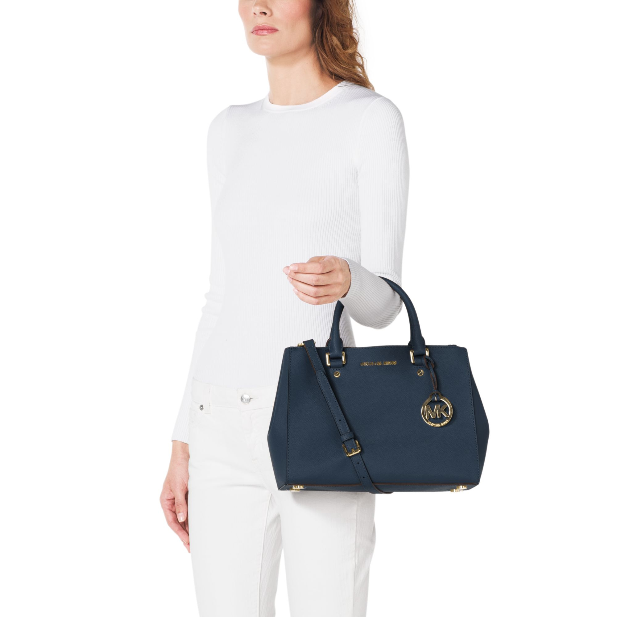 0421d61054 Michael Kors Sutton Medium Saffiano Leather Satchel in Blue - Lyst