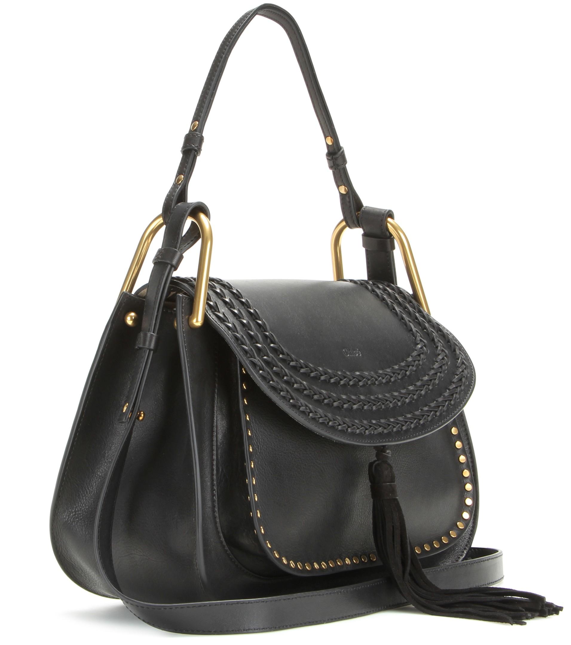 Chlo�� Hudson Leather Shoulder Bag in Black | Lyst
