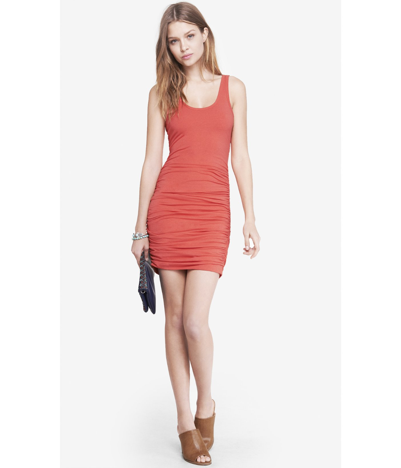 503d996eb Lyst - Express Coral Ruched Tank Dress in Orange