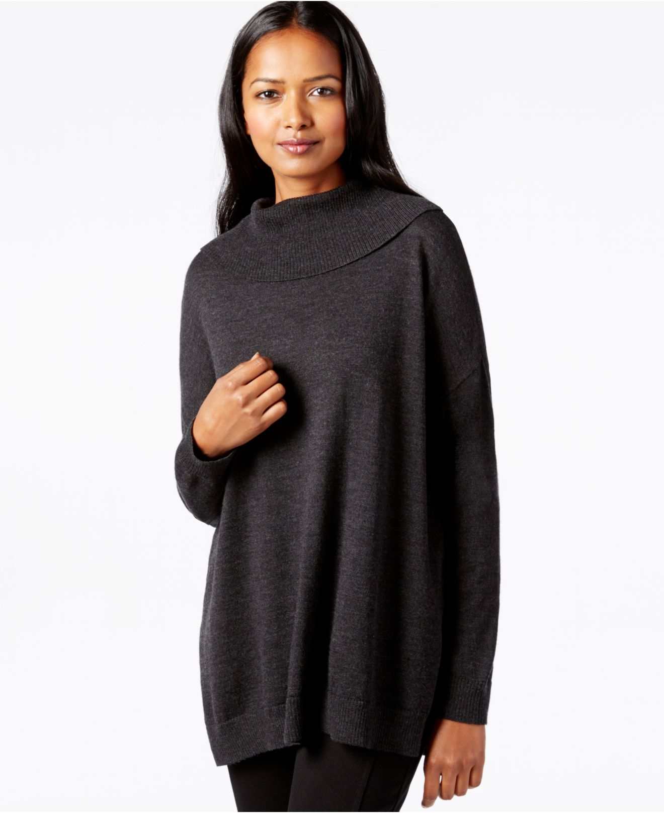Eileen fisher Turtleneck Tunic Sweater in Gray | Lyst