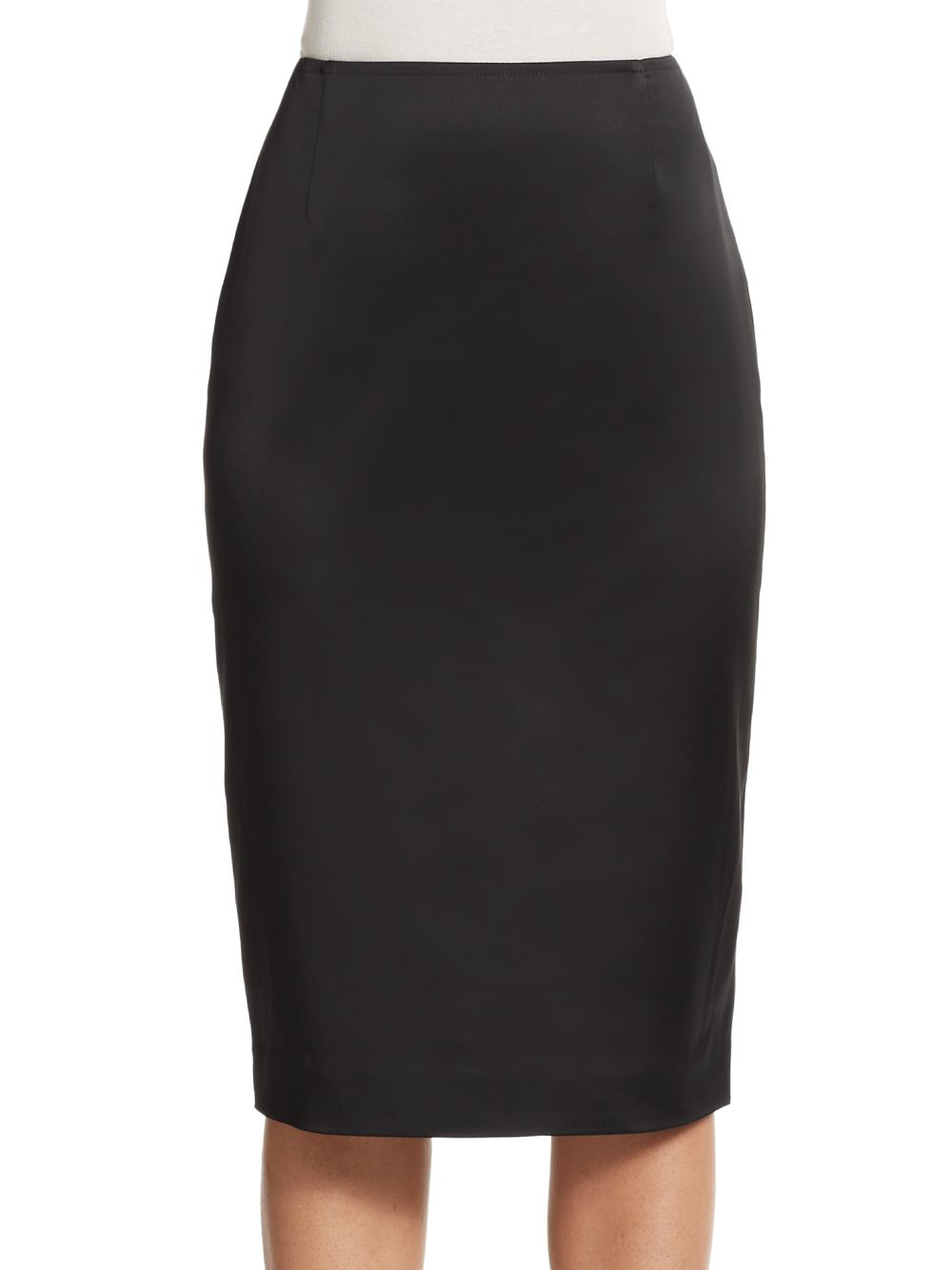 st structured stretch satin pencil skirt in black