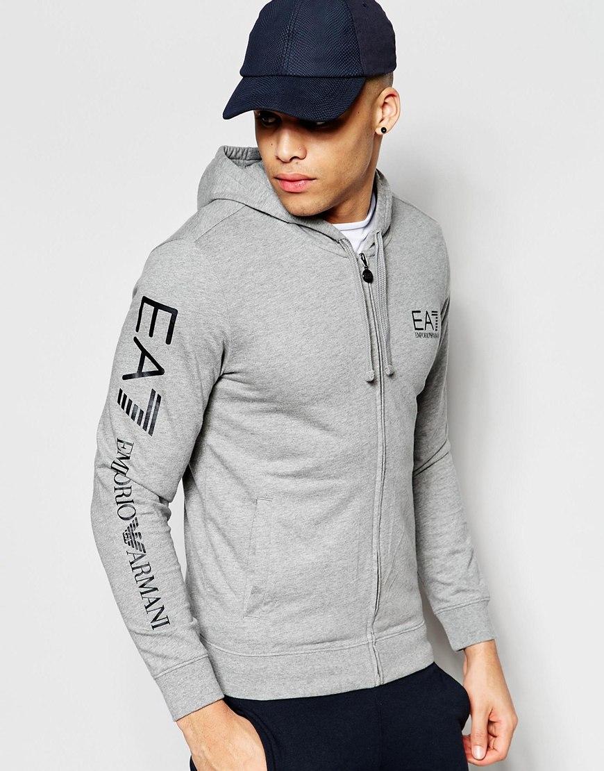 Ea7 Emporio Armani Hoodie With Zip Up Amp Logo Sleeve Grey