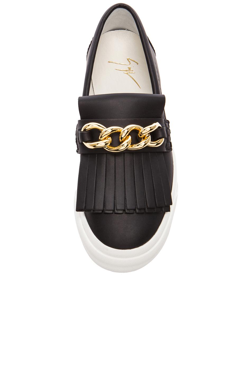 610f7a8eb7235 Giuseppe Zanotti Fringe Chain Leather Slip On Sneakers in Black - Lyst