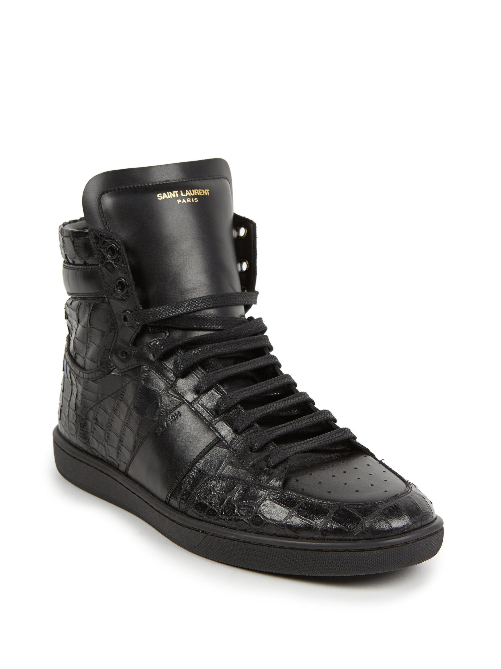 saint laurent croc embossed leather high top sneakers in black for men lyst. Black Bedroom Furniture Sets. Home Design Ideas