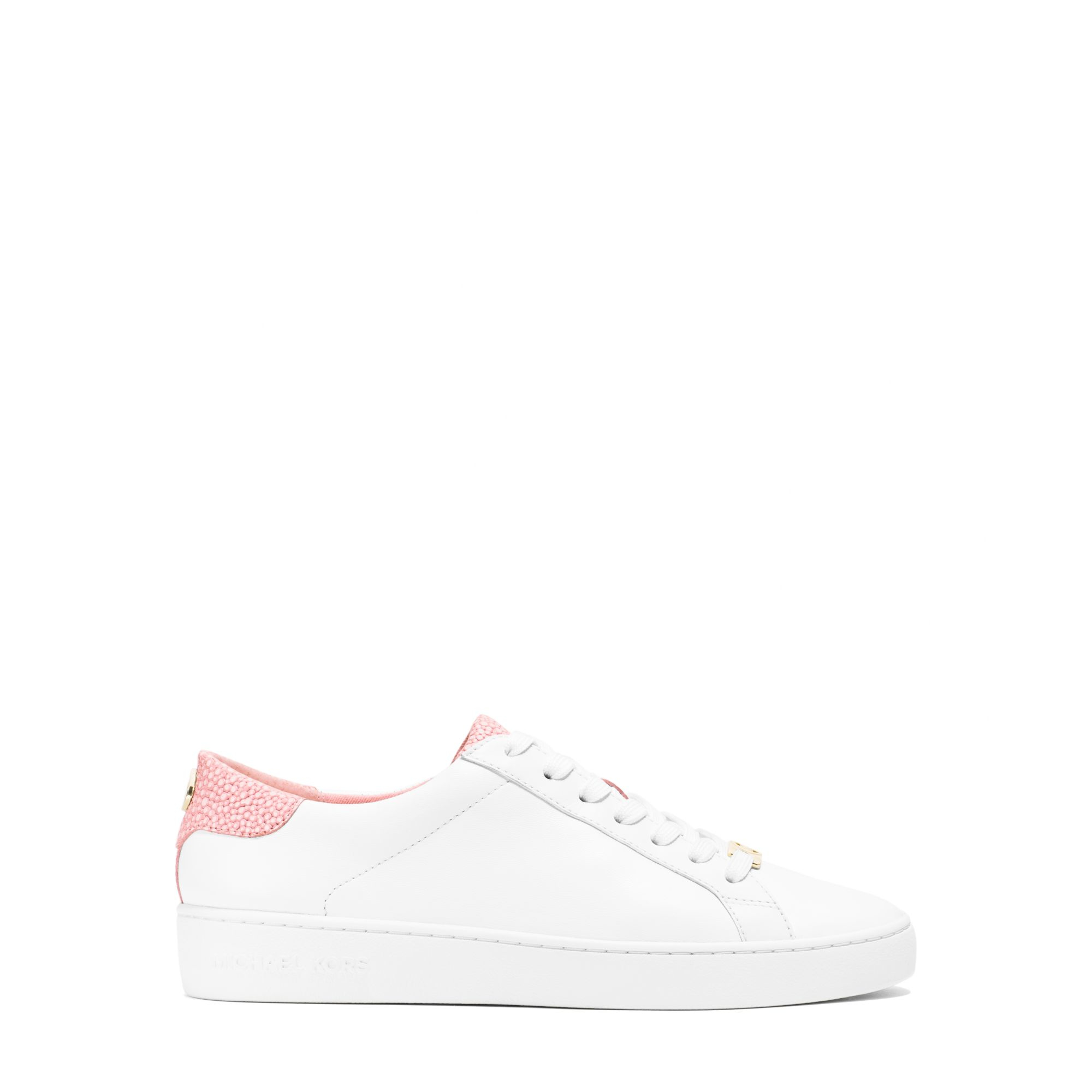 michael kors irving leather sneaker in pink lyst