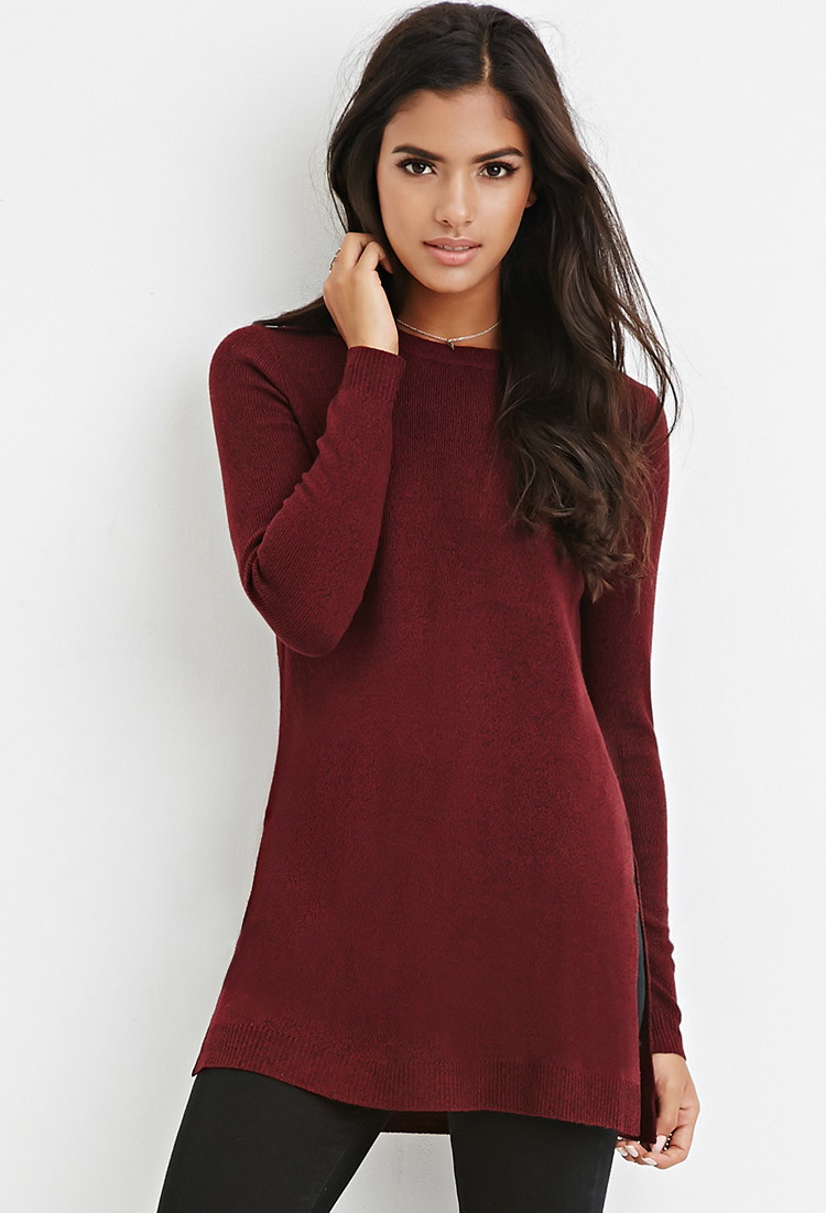 Lyst Forever 21 Side Slit Sweater Tunic In Purple