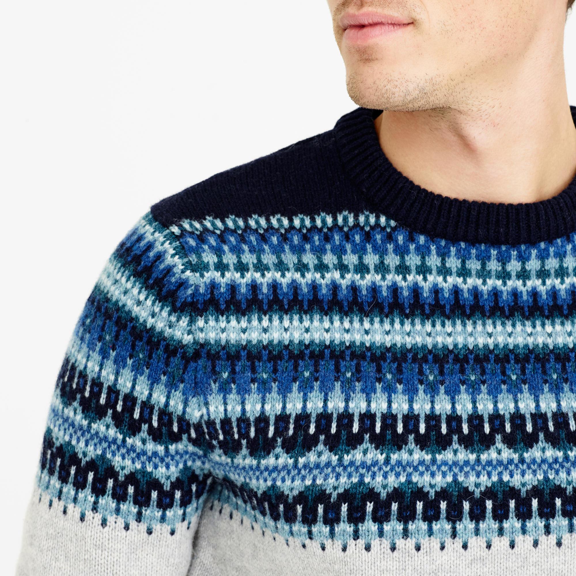 J.crew Lambswool Fair Isle Sweater In Navy in Blue for Men | Lyst
