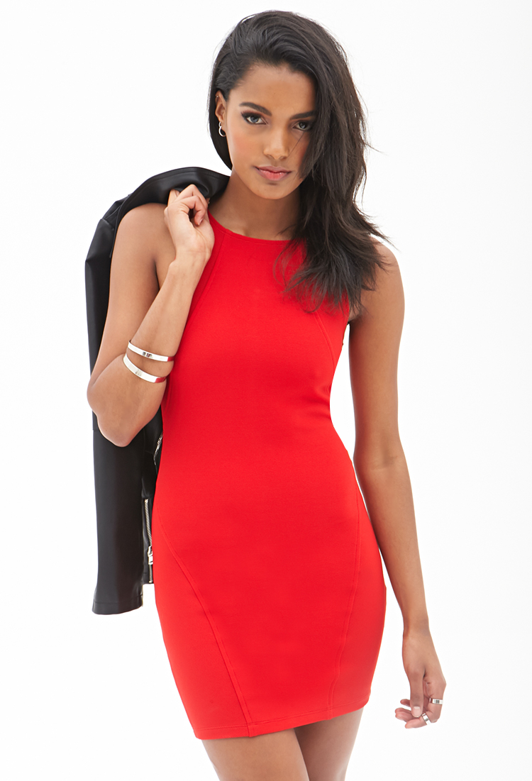 cf07bf18f9 Lyst - Forever 21 Ribbed Knit Bodycon Dress in Red