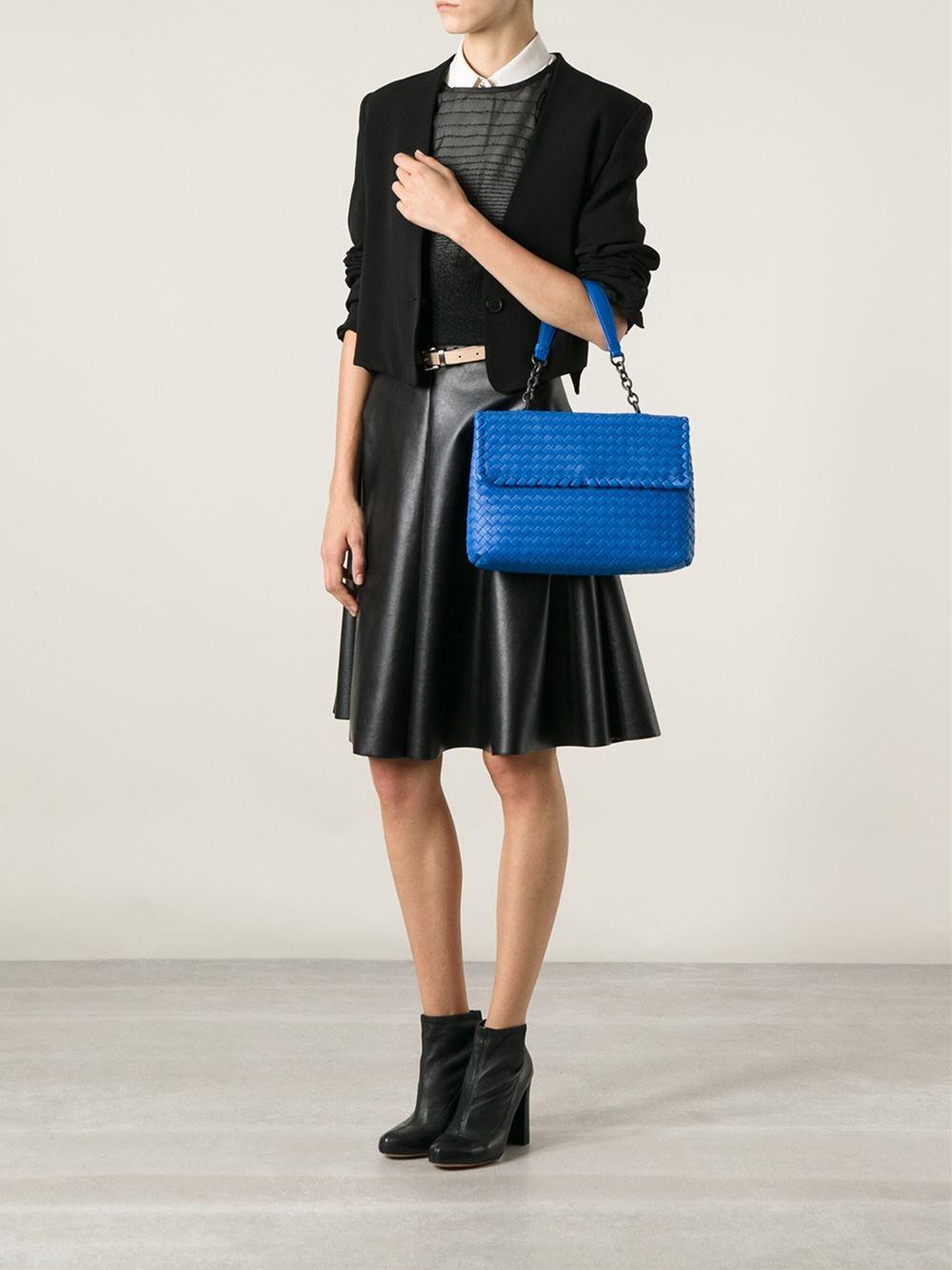 e4b30a897343 Bottega Veneta Intrecciato Olimpia Shoulder Bag in Blue - Lyst